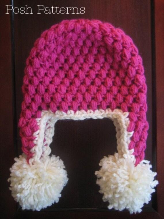 Crochet Chunky Earflap Hat Pattern : Crochet PATTERN Puff Stitch Earflap Hat Crochet Hat