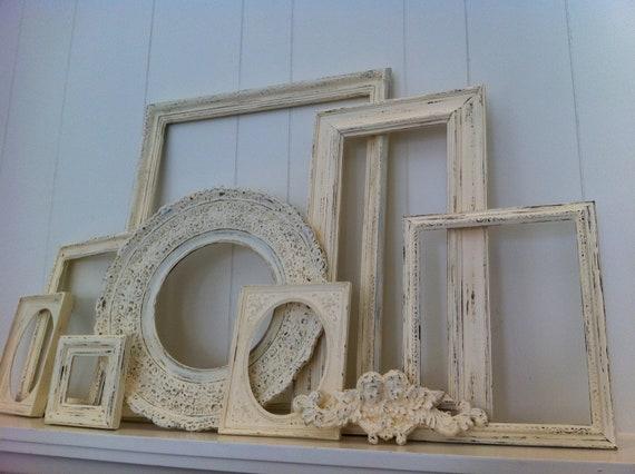 empty gallery frames white shabby chic vintage frame set. Black Bedroom Furniture Sets. Home Design Ideas