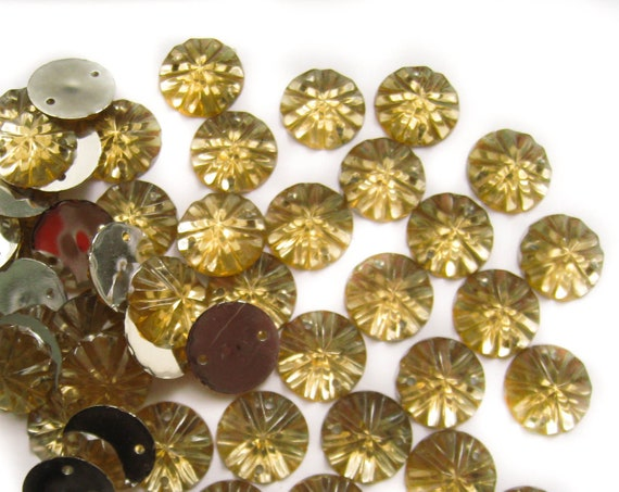 50, Golden Sew on Flatback Acrylic Rhinestone Gems with 2 Holes