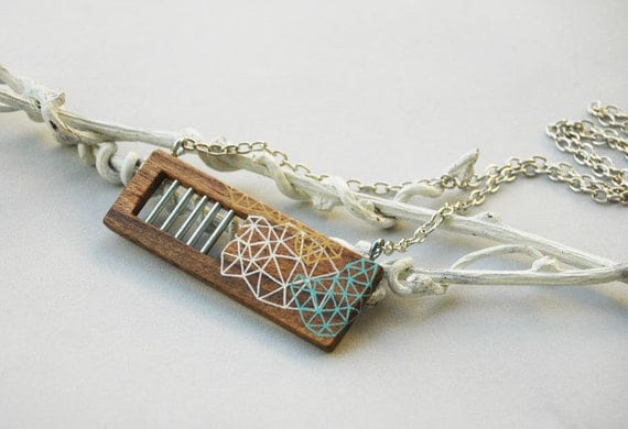 Geometric Necklace Abstract Wooden Pendant Necklace Wearable Art