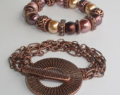 Rust Brown Chain and Toggle Clasp Bracelet