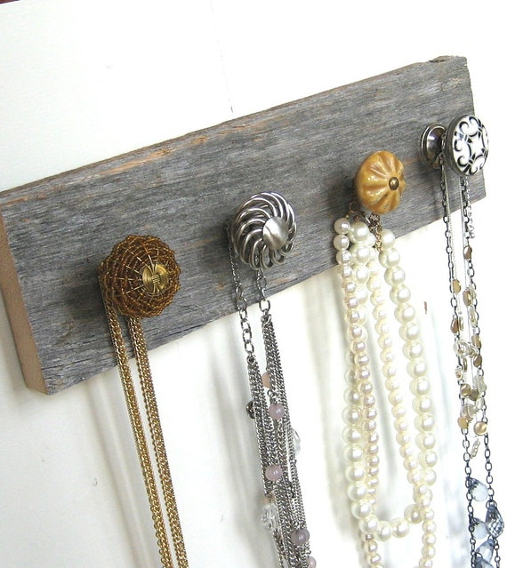 "Necklace Organizer ""Silver and Gold"" Jewelry Rack on Reclaimed Barn Wood"