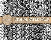 Damask Super Pack 24 Pack Digital Paper - Black and White - JPG Format - 24150