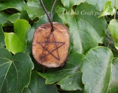 Large Yew Pentacle pendant - 5 Pointed Star - Wicca pendant