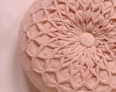 Pillow SALE Peach Knitted Circular Waffle Cushion Peach Pillow Hand Puckered Waffle Design Round Pillow Medium Size