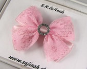 Pink Satin and Lace Layerd Hair Bow with Rhinestone Slide 4inches Bow Baby Toddler Girls Hair Bow