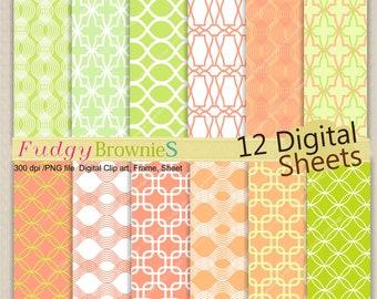 ON SALE Lattice Digital paper pack 7.5x11,scrapbooking , No.105 Digital paper, orange, tangerine, lime, instant download