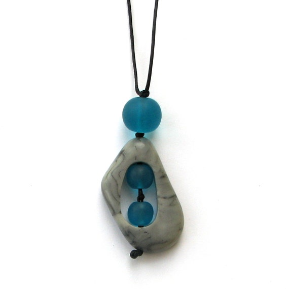Nursing Mom Necklace - Non Toxic Resin Babywearing/ Breastfeeding Necklace - Grey/ Gray Marble and Turquoise