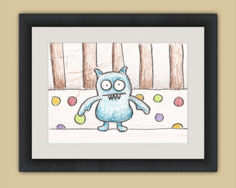 Icy-Bot Stuffed Animal in Crib - Crayon Drawing - 8x10 - Crayon Art Print - Kid's Room Art - Baby's Room Art