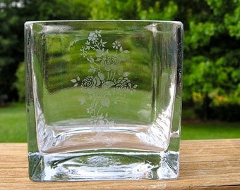 Glass Votive Holder With Etched Variety Of Flowers Design