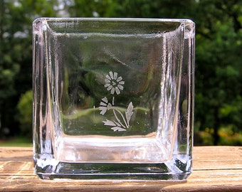 Glass Cube Candle Holder With Hand Etched Unique Flower Design