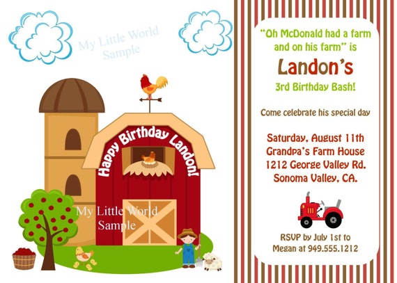 farm birthday invitation down on the farm by handcraftedpapers, Birthday invitations