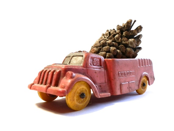 Vintage Toy Truck Fire Truck Yellow Wheels Auburn Rubber Truck