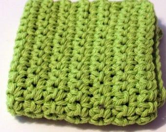 Crochet Dish Cloth Hot Pad Lime Green Apple