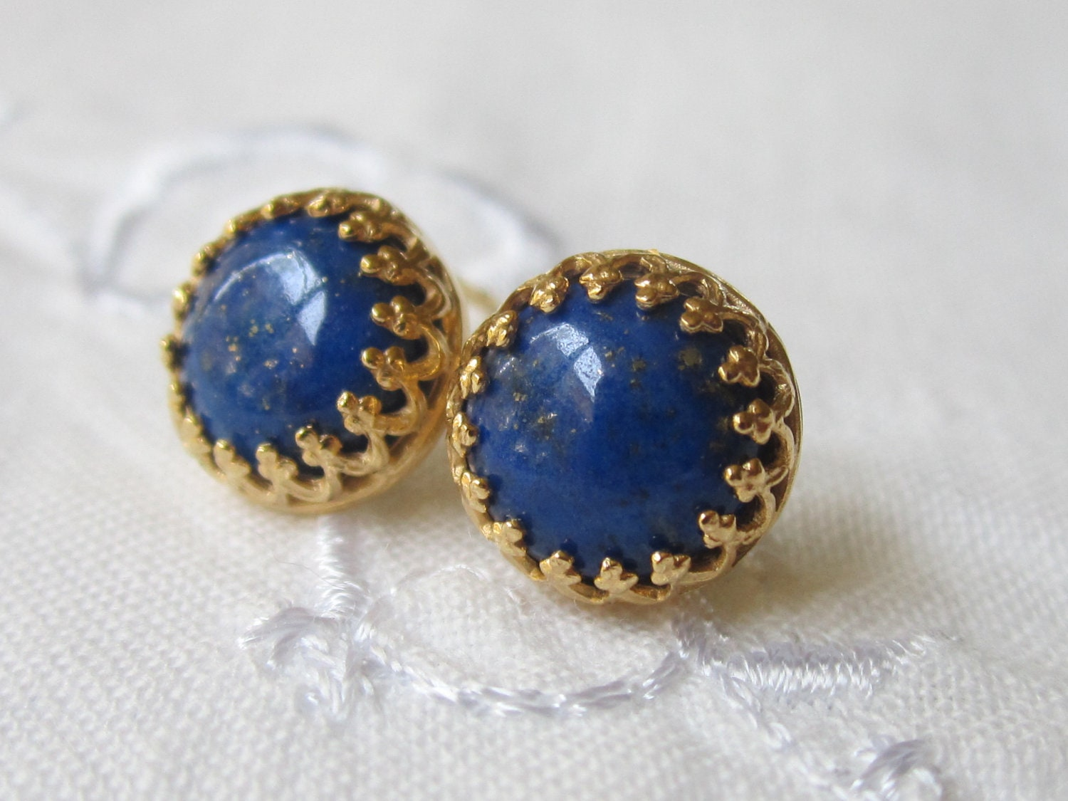 blue lapis stud earrings lapis lazuli post earrings 18k gold
