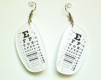 Black and white eye chart earrings made with prescription Rx eyeglass lenses