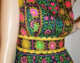 Vintage 1960's Alex Coleman PsYcHeDeLiC Neon Flower Heart Hippie BoHo Maxi Dress Bohemian Goddess Festival Designer Size M