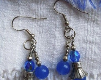 Blue Chalcedony, Crystal and Thai Silver Bell Flower Double Stranded Beaded Earrings