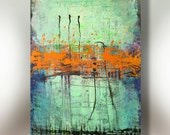 Art Painting Canvas painting ORIGINAL  ABSTRACT  PAINTING on canvas  Orange Interruption 36''x24'' Acrylic on Canvas
