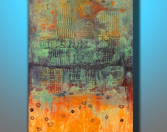 Art. abstract painting. landscape painting. acrylic painting. canvas painting texture  Orange Abstract Landscape 36''x24'' Acrylic on Canvas