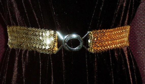 "Vintage gold sequin cinch belt - stretches 24"" to 36"""