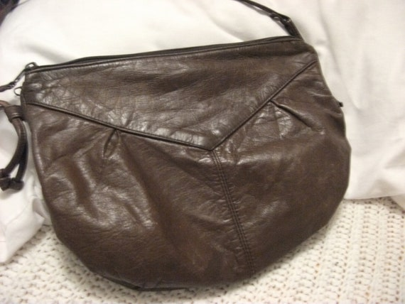 Reserved for Dianalf Vintage Brown Leather Shoulder Bag Ladies Purse Shabby Chic with Two Compartments Only 8 USD