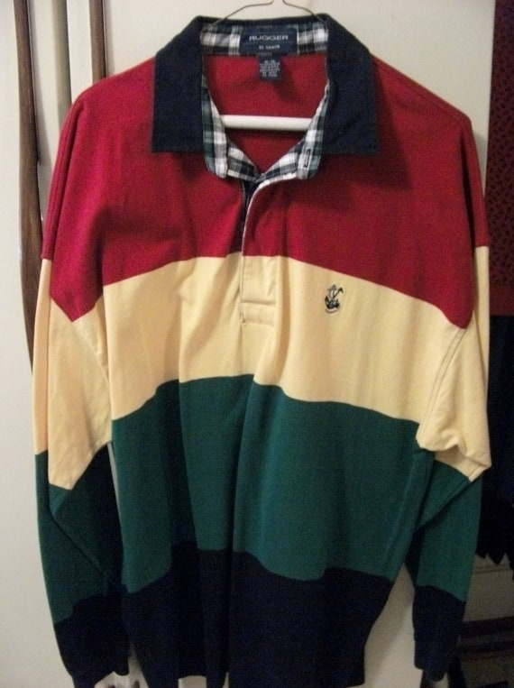 Vintage Men's Rugger Gant Shirt Rugby Striped Long Sleeves XL Only 12 USD