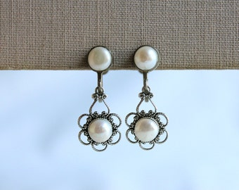 Pearl and Antique Silver Earrings
