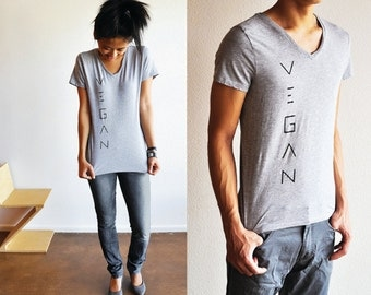 Vegan Clothing: Unisex V-Neck Grey Shirt (Size S )