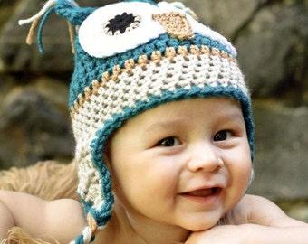 Owl Hat Owl Crochet Hat Baby Boy Beanie Crochet  Photo Prop Baby boy owl hat