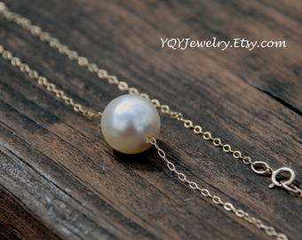 M Size Cream Venus Necklace---Swarovski Pearl Pendant, 14k Gold Filled or Sterling Silver, Anniversary, Mom, Wedding