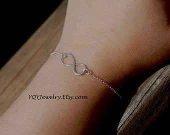 Small, Asymmetric, Solid Sterling Silver Infinity, Sterling Silver Chain Bracelet, Eternity, Forever, birthday gift, anniversary gift