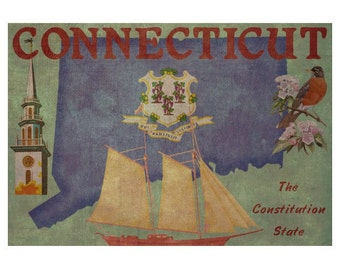 CONNECTICUT 1F- Handmade Leather Wall Hanging - Travel Art