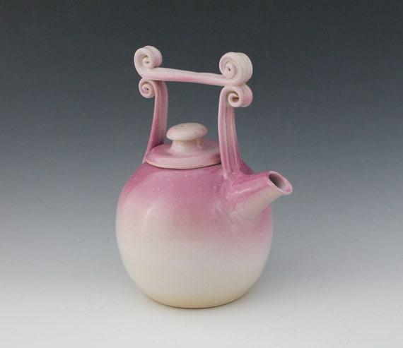 Reserved For Dee - Lovely Lavender Teapot - pink and white