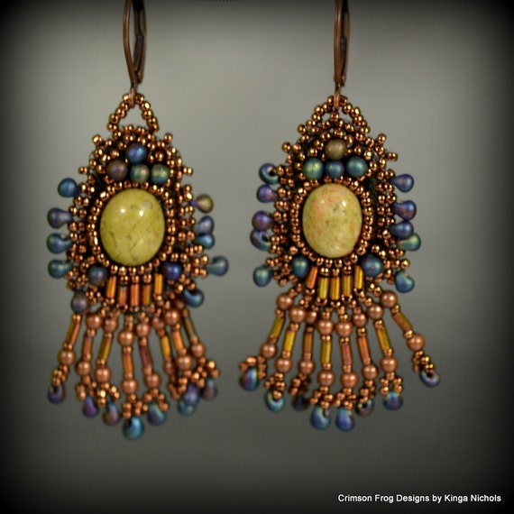 Bead Embroidery Earrings with serpentine in bronze