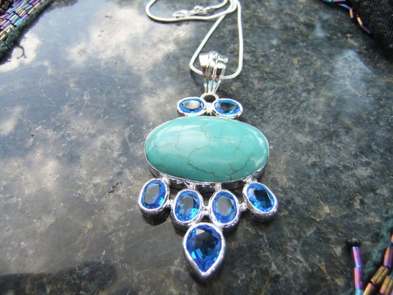 turquoise and blue topaz pendant ss