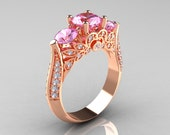 Classic 14K Rose Gold Three Stone Diamond Light Pink Sapphire Solitaire Ring R200-14KRGDLPS