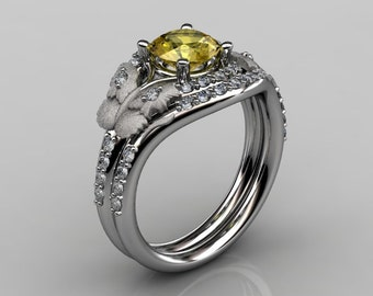 Nature Inspired 10K White Gold 1.0 CT Yellow Sapphire Diamond Butterfly and Vine Engagement Ring, Wedding Band Set NN117SS-10KWGDYS