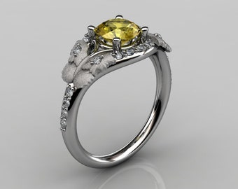 Nature Inspired 10K White Gold 1.0 CT Yellow Sapphire Diamond Butterfly and Vine Engagement Ring, Wedding Ring NN117S-10KWGDYS