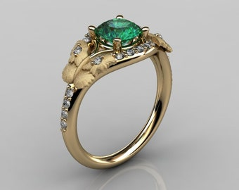 Nature Inspired 14K Yellow Gold 1.0 CT Emerald Diamond Butterfly and Vine Engagement Ring, Wedding Ring NN117S-14KYGDEM