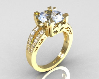 Modern Vintage 14K Yellow Gold 3.0 Carat Aquamarine Diamond Solitaire Ring R102-14KYGDAQ