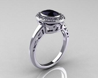 Classic Italian 14K White Gold Oval Black and White Diamond Engagement Ring R195-14KWGDBD