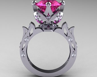 Modern Antique 14K White Gold 3.0 Carat Pink Sapphire Diamond Solitaire Wedding Ring R214-14KWGDPS