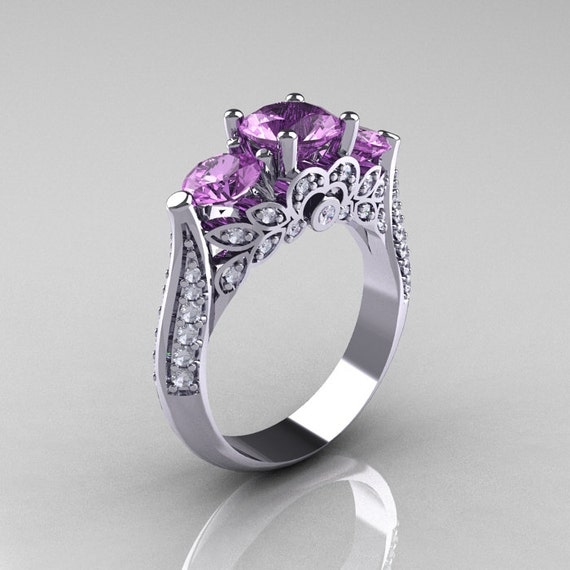 Classic 14K White Gold Three Stone Diamond Lilac Amethyst Solitaire Ring R200-14KWGDLA
