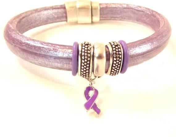 Lavender Awareness Bracelet - Greek Leather Bracelet - Licorice Leather - Epilepsy