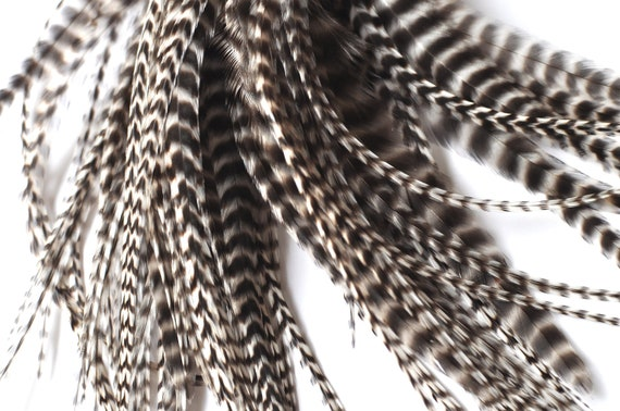 """6.5"""" - 9.5"""" Long 96 Count Natural Black and White Grizzy Hair Extension Feathers Wholesale Extension #MP112"""