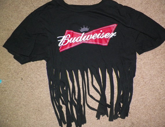 Beer Party Animal BUDWEISER fringed Hipster Top