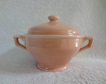Vintage Vernon Kilns Pottery Early California Pink Sugar Bowl