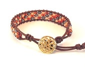 Greek Leather Cord Wrap Bracelet Made with Autumn Colored Seed Beads and a Button Clasp - BeadingDerby