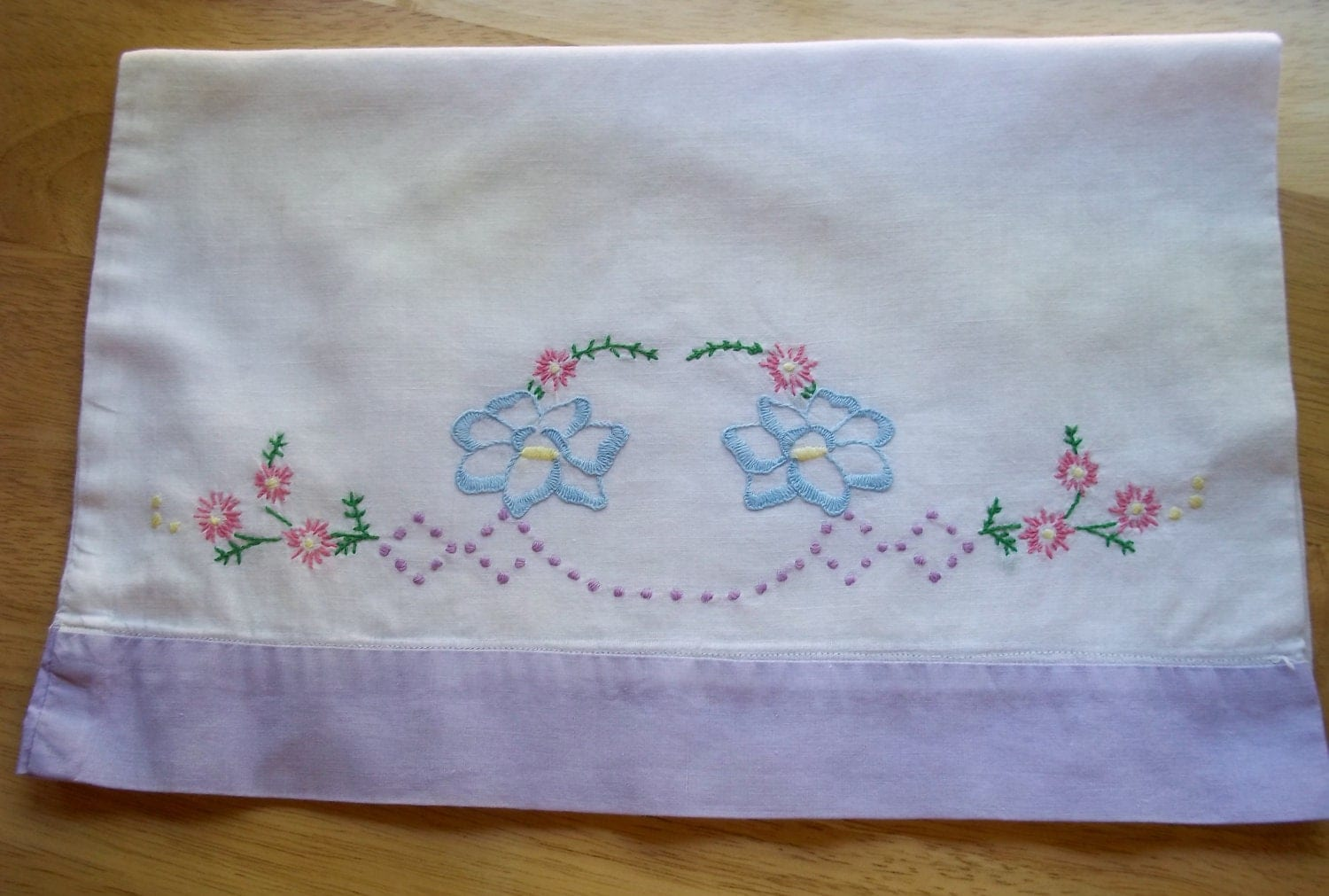 Vintage Embroidered Baby Pillow Case